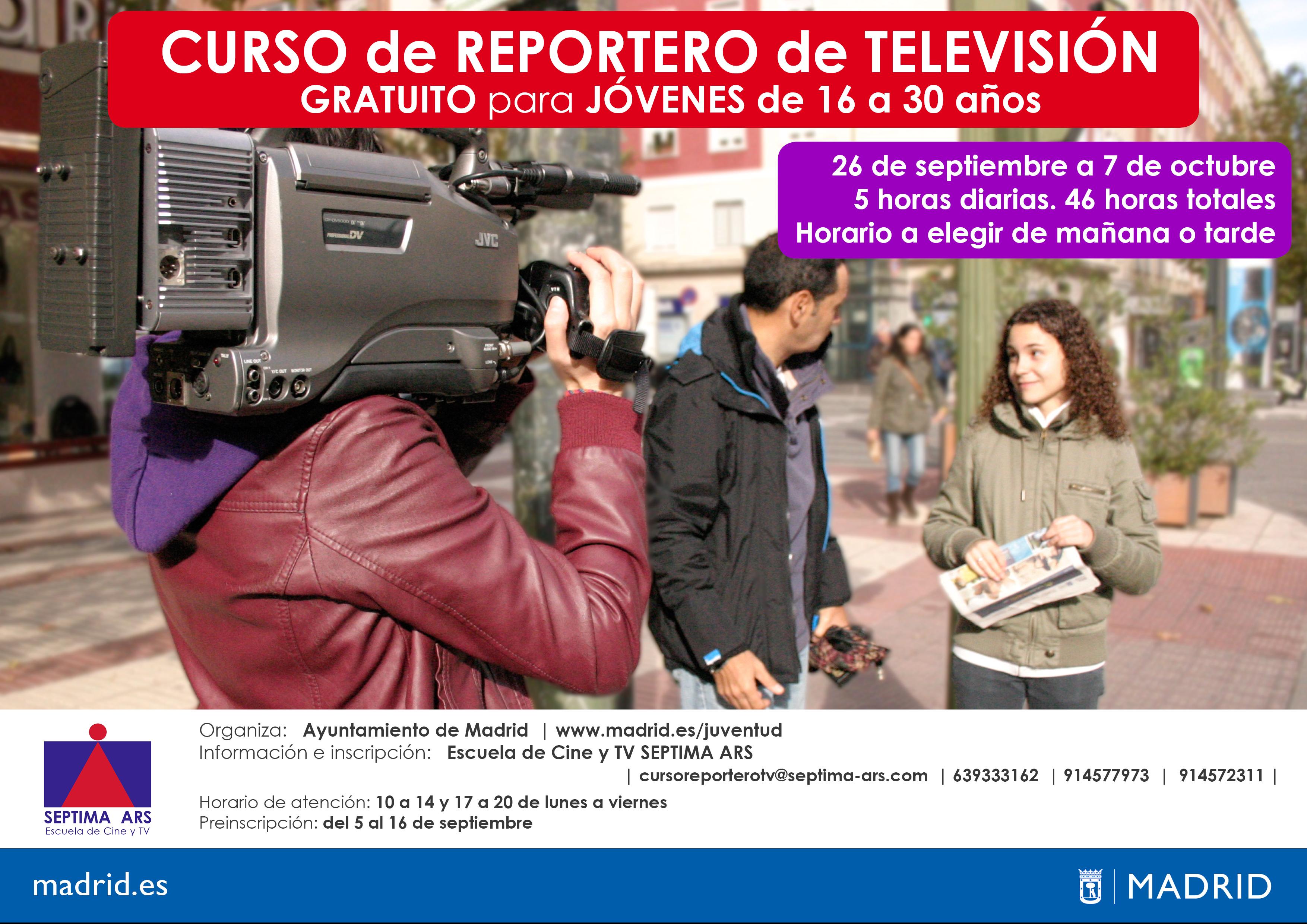 Curso Gratuito de Reportero de Televisión del Ayuntamiento de Madrid realizado por la Escuela de Cine y Televisión Septima Ars
