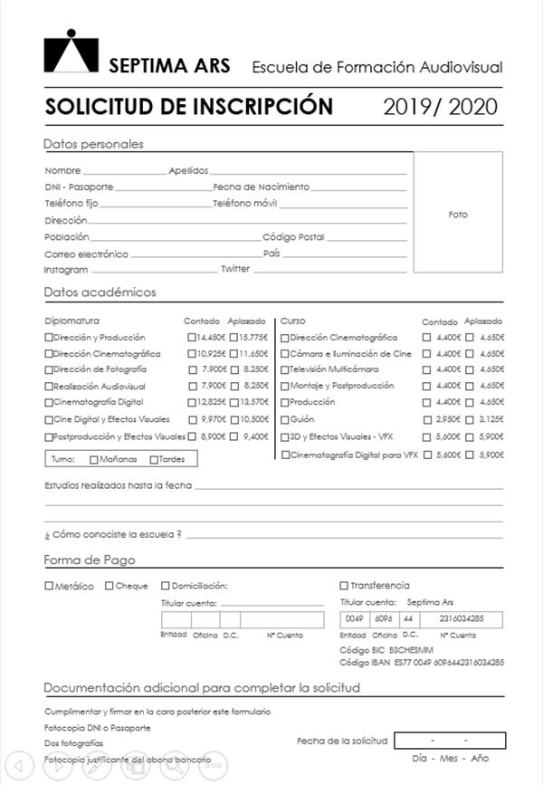 Ficha de inscripción para matricularse en Septima Ars